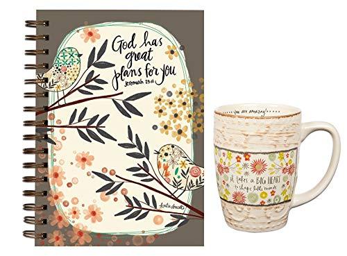 Great Plans Journal Floral Ink Pen with Bookmark Teacher Coffee Mug Bundle
