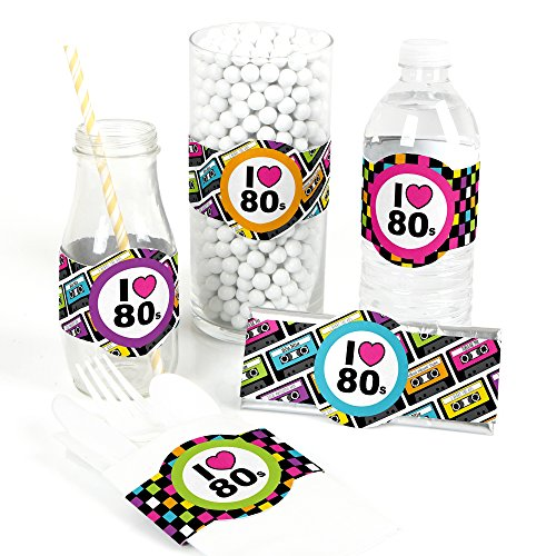 80's Retro - DIY Party Supplies - Totally 1980s Party DIY Wrapper Favors & Decorations - Set of 15