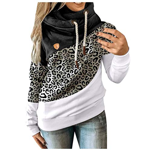 Molisell Hoodies for Women Cowl Neck Color Block Drawstring Long Sleeve Casual Sweatshirts