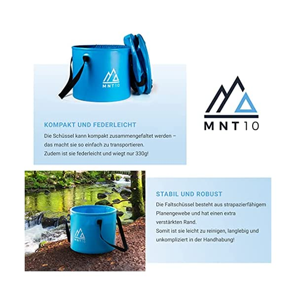 MNT10 Outdoor Falteimer in 15L oder 20L I Faltschüssel aus robustem Planen Gewebe I Als Camping Spülschüssel, Spülwanne…