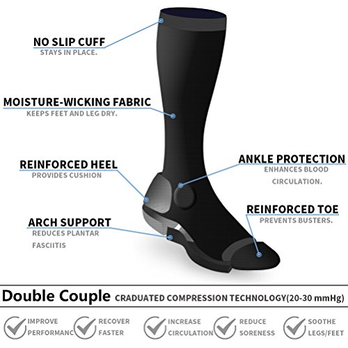 5 Pairs Compression Socks for Women Men 15-20mmHg Nursing Running Athletic Edema Diabetic Varicose Veins Travel Pregnancy Maternity (Black, L/XL) by Double Couple (Image #1)