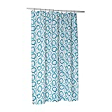 Carnation Home Fashions Blue Circles Stall Printed Fabric Shower Curtain, 54-Inch by 78-Inch