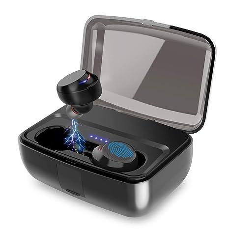 Yojoloin Auriculares inalámbricos, Bluetooth 5.0 3D, Sonido estéreo, Auriculares inalámbricos con Caja de