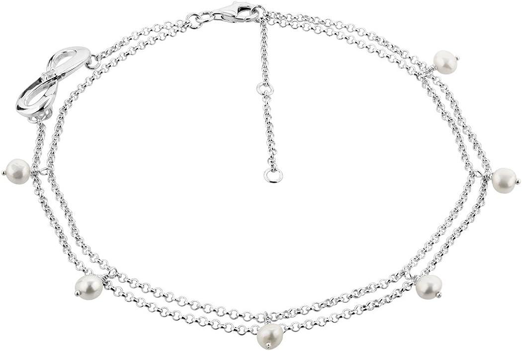 Nenalina 281002-050 - Tobillera de Plata con símbolo de Infinito y auténticas Perlas de Agua Dulce, Pulsera Ajustable para Mujer y niña, Longitud 23 – 27 cm, Plata de Ley 925