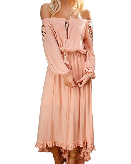 Mujer Vestidos Fiesta Largos De Noche Fuera De Hombro Manga Larga Vestido Coctel Partido Vestido: Amazon.es: Ropa y accesorios