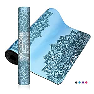 YOGA DESIGN LAB | The Infinity Mat | Luxurious Unique Non-Slip Design Provides Unparalleled Grip to Support and Align You Beautifully | Eco-Friendly | 4 Colors | Includes Carrying Strap! (Mandala Aqua)