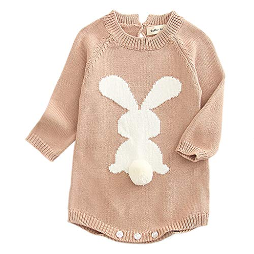 ANJUNIE Newborn Baby Girl Cartoon Knitting Rabbit Pom Sweater Tops Romper Bodysuit(Khaki,100)