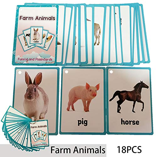 (Richardy 18PCS/Set Farm Animals Kids Gifts English Flash Cards Pocket Card Educational Learning Baby Toys For Children Pre-Kindergarten)