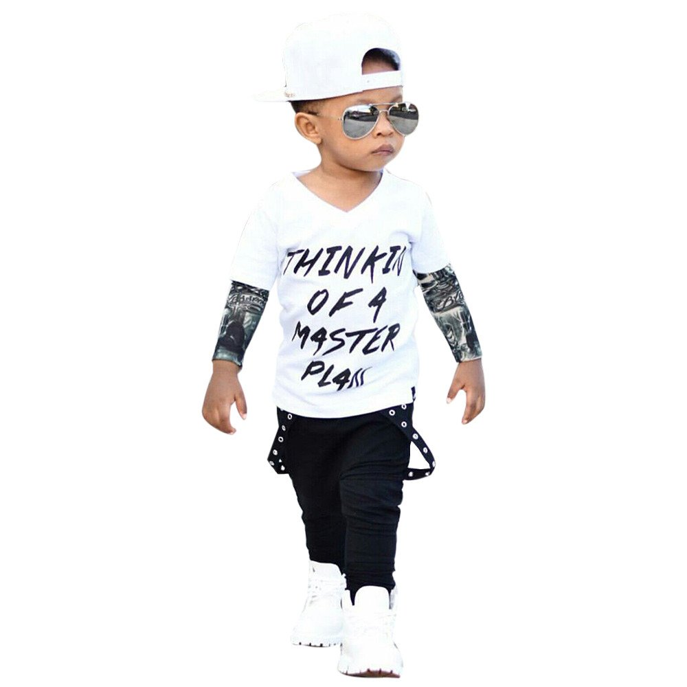 f04327331c10 Todaies Newborn Infant Baby Boy Letter Tattoo T shirt Tops Pants Outfits  Clothes Set (12-18M