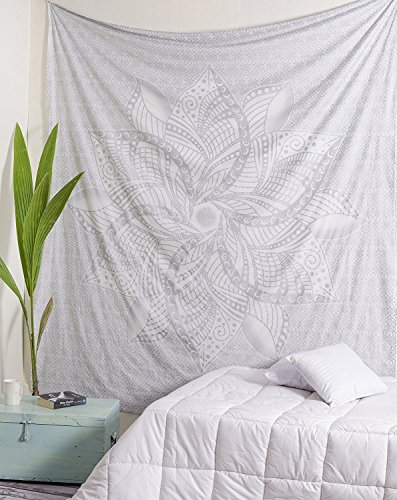 Popular Handicrafts Kp860 Moon Ombre Silver Tapestry Indian Mandala Wall Art Hippie Wall Hanging Bohemian Bedspread Multi Purpose Tapestries King Size