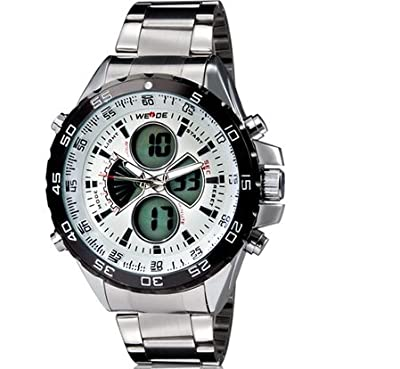 Lucianothai WEIDE 1103 Men's Stainless Steel Digital & Analog Display LED Watch M.