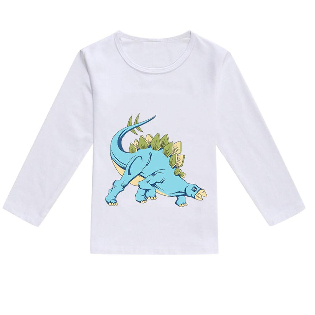 NUWFOR Toddler Baby Kids Boys Girls Spring Dinosaur Print Tops T-Shirt Casual Clothes(Blue,12-18 Months)