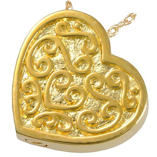 Memorial Gallery 3112a Filigree Slide heartGP Filigree Slide Heart 14K Gold Plating Pet Jewelry -