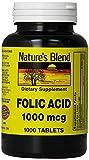 Nature's Blend Folic Acid 1000 mcg 1000 Tabs Pack of 4