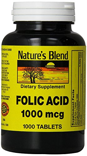 Nature's Blend Folic Acid 1000 mcg 1000 Tabs Pack of 5 by Nature's Blend