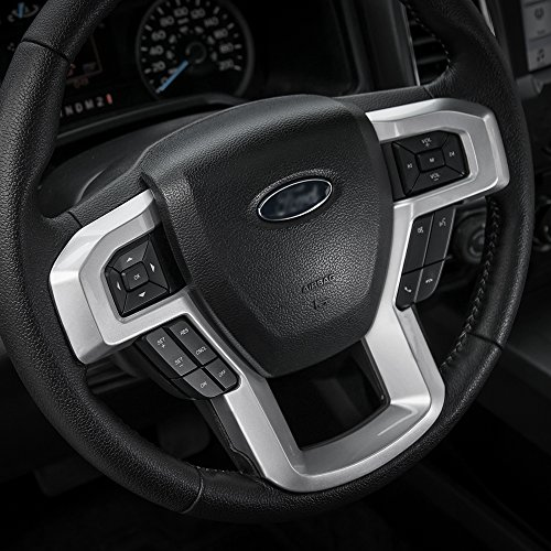 (Voodonala Silver Steering Wheel Decoration Cover Frame Trim for 2015 2016 2017 Ford F150 F250 F350 Super Duty)
