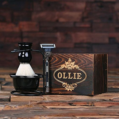 New Town Creative Customized Monogram Shaving Kit with Foaming Brush and Mach 3 Razor with Wood Box