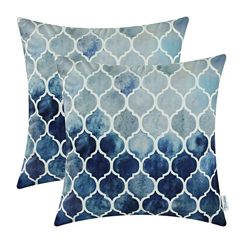 Pack of 2 CaliTime Cozy Throw Pillow Cases Covers for Couch Bed Sofa, Manual Hand Painted Colorful Geometric Trellis Chain Print, 22 X 22 Inches, Main Grey Navy Blue (Accent Bed For Blue Pillows)