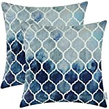 CaliTime Pack of 2 Cozy Throw Pillow Cases Covers Couch Bed Sofa Manual Hand Painted Colorful Geometric Trellis Chain Print 20 X 20 inches Main Grey Navy Blue