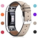 Hotodeal Band Compatible Fitbit Charge 2 Replacement Bands, Classic Genuine Leather Wristband Metal Connectors, Fitness Strap Women Men Small Large Beige