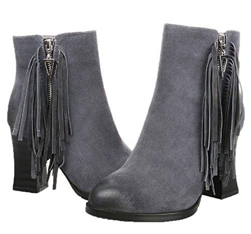 Women's Tassel HooH Heel High Zipper Grey Boots Nubuck Boots Aw7p7dUzq