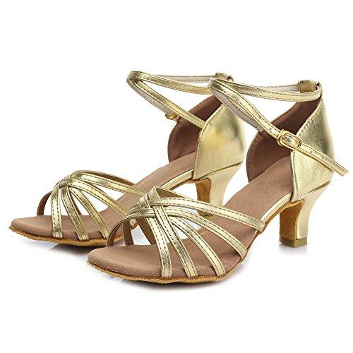 mujeres Zapatos F13 HROYL latinos Gold de 5CM satén baile ES7 de Zapatos W7qcr7zAt0