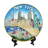 New York Souvenir 3D Plate with Statue of Liberty, Empire State Building, Chrysler Building, Freedom Tower, Brooklyn Bridge 6 Inches Diameter