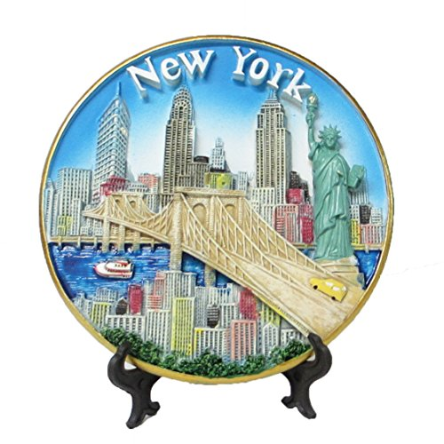 New York Souvenir 3D Plate with Statue of Liberty, Empire State Building, Chrysler Building, Freedom Tower, Brooklyn Bridge 6 Inches Diameter by Lisa NY