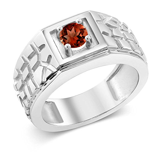 0.60 Ct Round Red VS Garnet 925 Sterling Silver Men's Solitaire Ring