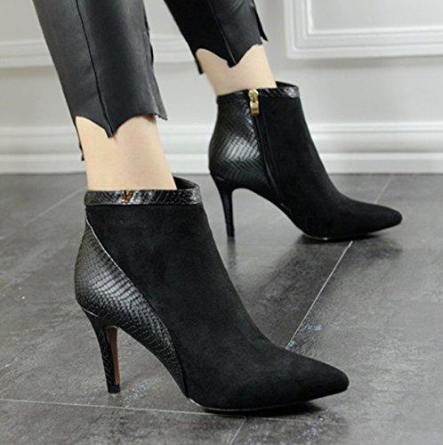 KHSKX-Unos Botines De Tacon Alto Otoño Tacones Altos Botas De Tacon Fino Europeos Y Americanos De Moda Botas De Tobillo Sexy Zapatos De Mujer Botas Invierno Mujer AlgodónTreinta Y CuatroBlack