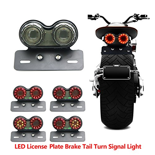 Universal 40W 40 LED Twin Dual Cat Eye Motorcycle Taillight Integrated Motor Turn Signals Brake Stop Lamp with License Plate Bracket Holder for Bobber Cafe Racer ATV Chopper - Cat Eye Running