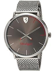 Scuderia Ferrari Mens ULTRALEGGERO ULTRA SLIM Quartz Resin Casual Watch, Color:Grey (Model: 0830406)