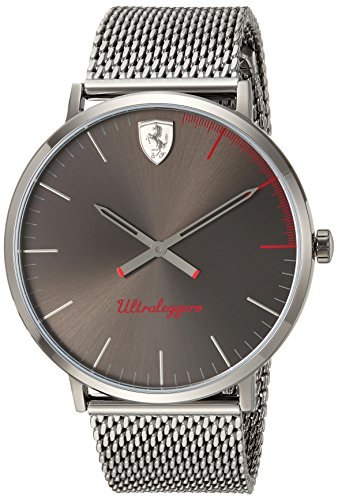 Scuderia Ferrari Mens Ultraleggero Ultra Slim Quartz Resin Casual Watch  Color Grey  Model  0830406