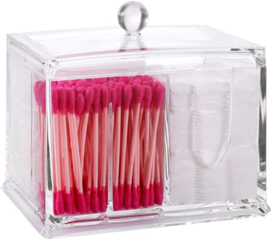 PuTwo Acrílico Almacenaje Algodón Transparente Caja de Bastoncillos algodonero con tapa Algodonero Organizador de Maquillaje Organizador de Baño y Tocador para Bolas de Algodón y Bastoncillos: Amazon.es: Belleza