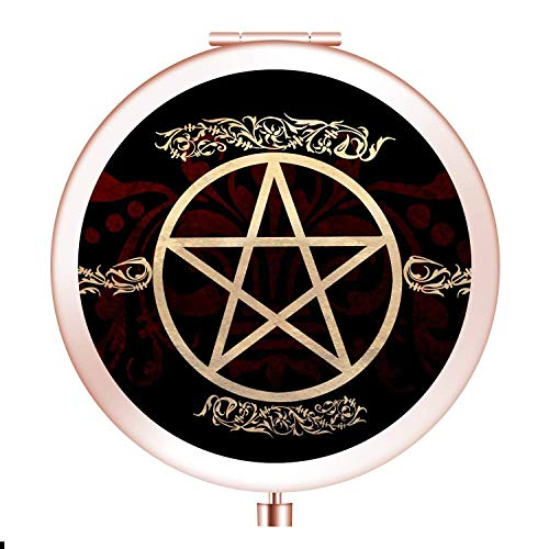 Glad grace Witchcraft Pentagram Handheld Portable Makeup Mirror Round Compact Mirror for Purses with 2 x 1x Magnification