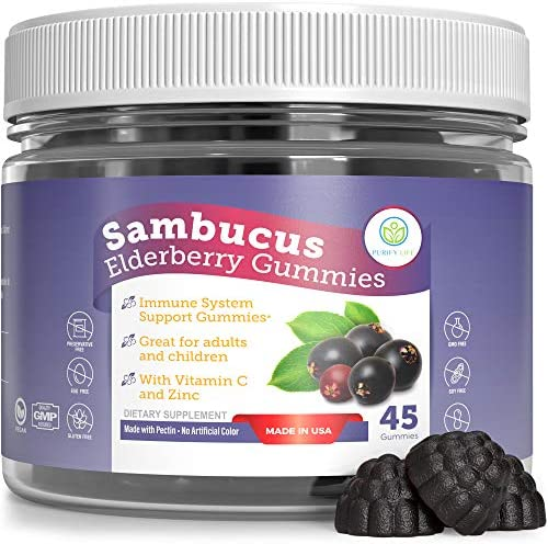 Elderberry Gummies for Kids Adults – Sambucus Immune System Booster – Allergy Cold Relief Support Supplement – Chewable Vitamin C Zinc Multivitamin – Replace Capsules, Pills, and Syrup