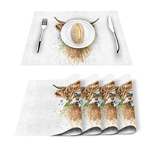 MJDIY Placemat,Scotland Yak con Tapete De Mesa Floral Art Art, Manteles Individuales Resistentes Al Calor para La Decoracion del Banquete De Boda,Set