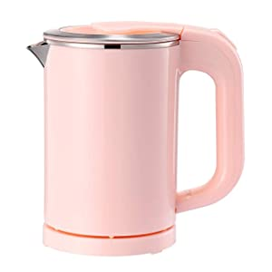 Portable Electric Kettle - 0.5L Mini Stainless Steel Travel Kettle - Water Touch Inner Surface without Plastic & Cool Touch Outer Surface (Pink)