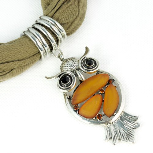 AllyDrew Owl Pendant Necklace Scarf Pendant Scarf, Brown