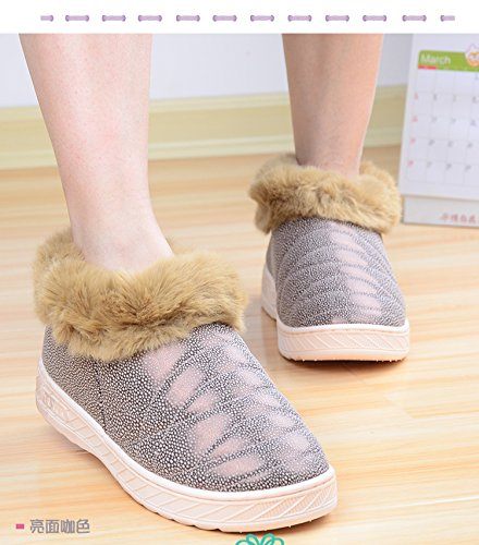CWAIXXZZ pantofole morbide In inverno il cotone pantofole bella maschio e femmina giovane warm shoes home pacchetto soggiorno con acqua-resistenti anti-slittamento peluche spessa scarpe ,43-44 (41-42)