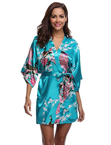 Aibrou Women's Kimono Robe Satin Peacock Bathrobe Short Silk Bridal Robe Lake Blue