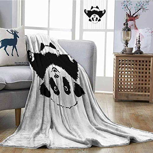 (Soft Blanket Animal Decor Funny Panda Wants to Hug and Cuddle Adorable Friendly Cartoon Illustration Print Print Summer Quilt Comforter W60 xL80 Black White)
