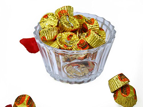 Reeses Crystal Candy Bowl with 6.2 oz. Individually Wrapped Reeses Peanut Butter Cups – Crystal Kiss Gift Set for Valentines Day, Weddings, Anniversary by Gold Label (Image #2)