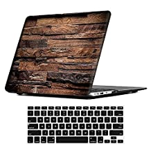 MacBook Air 13 inch Case,iCasso Rubber Coated Glossy Hard Shell Plastic Protective Case Cover + Keyboard Cover, for Apple Laptop MacBook Air 13 inch (Model :A1369/A1466), Dark Brown Wood