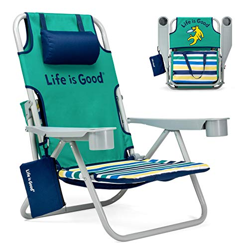 Life is Good Beach Chair with Cooler, Backpack Straps, Storage Pouch and Cup Holder (Rocket Green)
