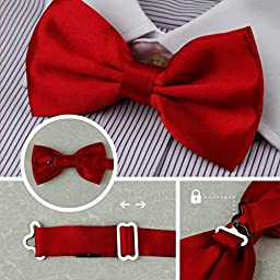 DBF2008 Mens Bow Tie Blue,Red,Gold,Grey,Brown Solid Poly Pre-tied Bow tie Present Box Set 5T By Dan Smith