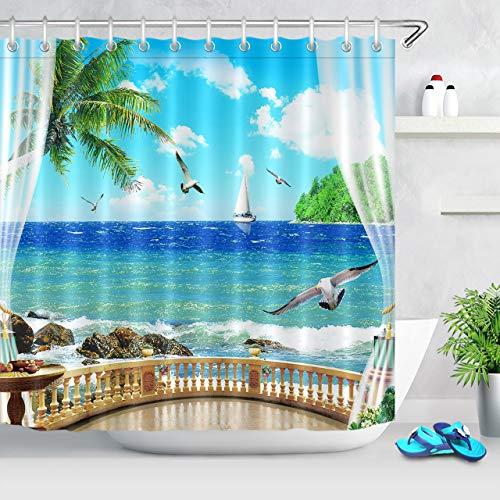 Rock Gull - LB Sea Ocean Shower Curtain Tropical Palm Tree Seaside Island Balcony Seagull Rock Sailboat Decor Bathroom Curtain Blue Sky White Cloud Shower Curtain Hooks 72x72 inch Waterproof Polyester Fabric