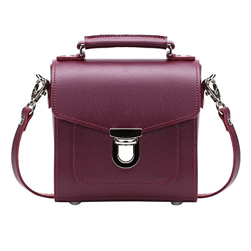 Zatchels Sugarcube - Borsa in Pelle Fatta a Mano (British Made) - Donna Rosso intenso