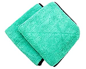 "Dry Rite Premium Plush 14"" x 14"" Heavy Weight Microfiber Cloth- Ultra Thick- 700 GSM- Polishing, Detailing, & Cleaning Towel for Fine Automobile Surfaces, Car Windows, Interiors, Glass, Use Wet/Dry-"