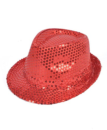 Buckletown Sequined Fedora Hat (Red)]()